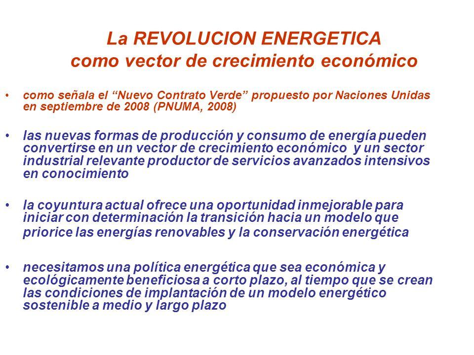 La REVOLUCION ENERGETICA como vector de crecimiento económico como señala el Nuevo Contrato Verde propuesto por Naciones Unidas en septiembre de 2008