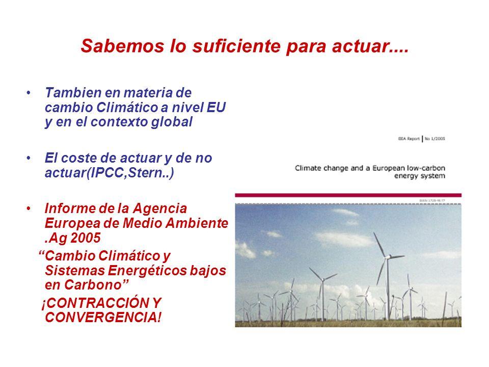 Sabemos lo suficiente para actuar.... Tambien en materia de cambio Climático a nivel EU y en el contexto global El coste de actuar y de no actuar(IPCC