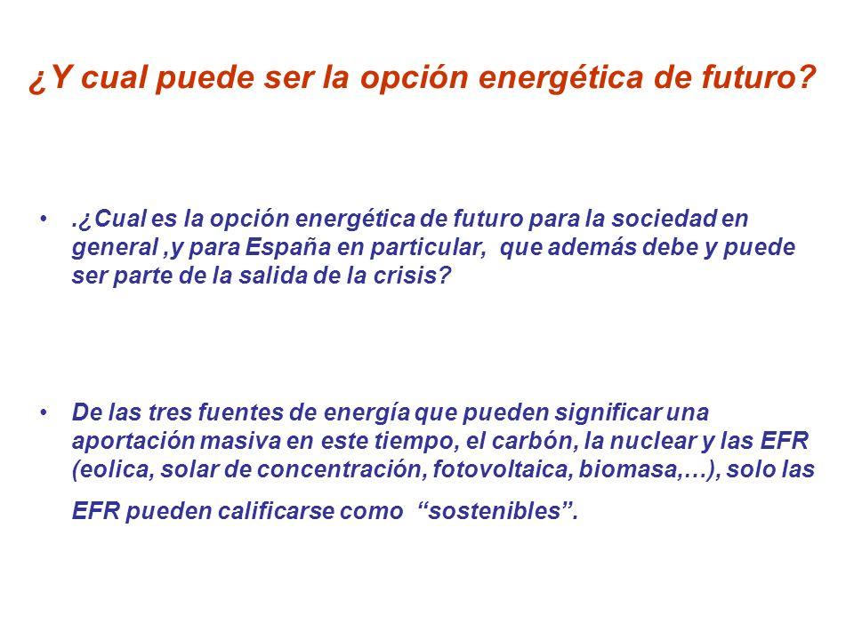 ¿Y cual puede ser la opción energética de futuro?.¿Cual es la opción energética de futuro para la sociedad en general,y para España en particular, que
