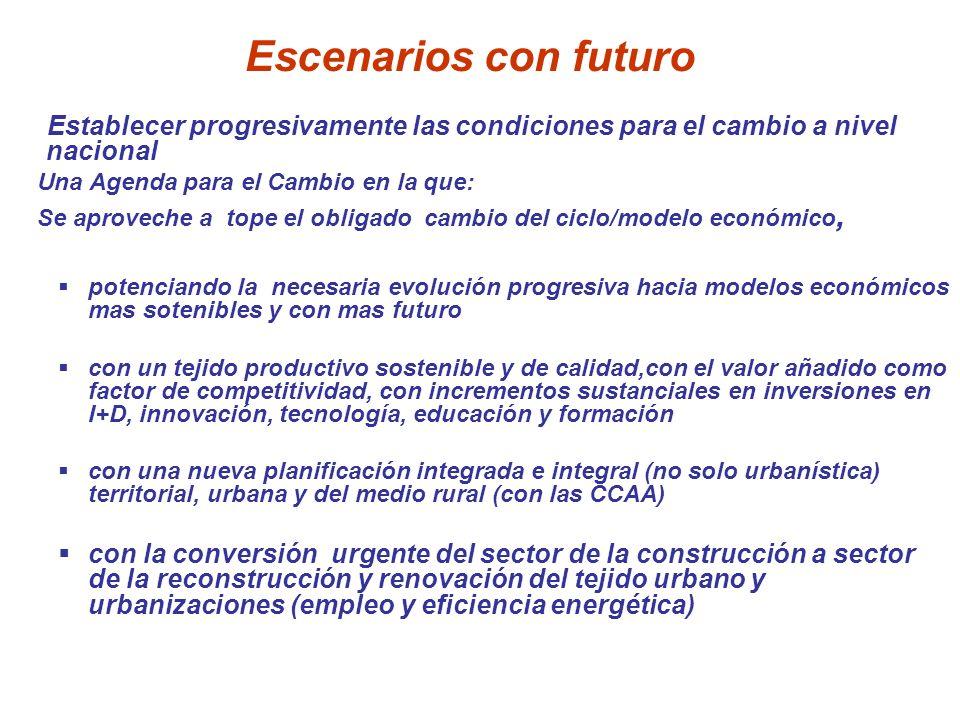 Escenarios con futuro Establecer progresivamente las condiciones para el cambio a nivel nacional Una Agenda para el Cambio en la que: Se aproveche a t