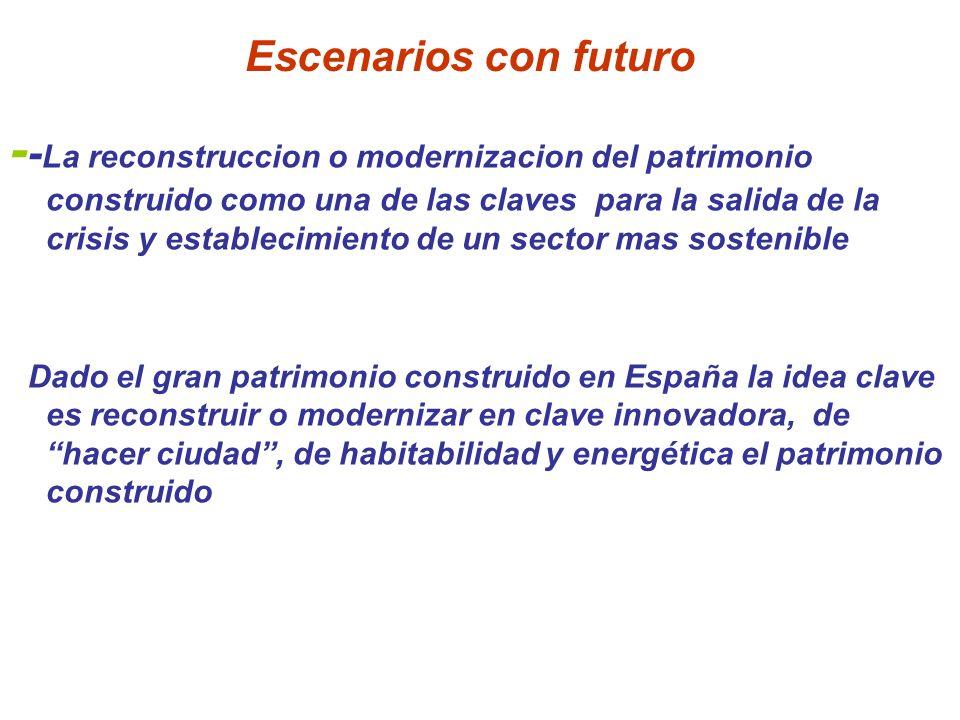 Escenarios con futuro - - La reconstruccion o modernizacion del patrimonio construido como una de las claves para la salida de la crisis y establecimi