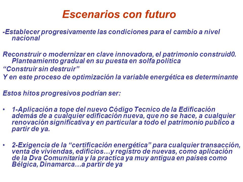 Escenarios con futuro -Establecer progresivamente las condiciones para el cambio a nivel nacional Reconstruir o modernizar en clave innovadora, el pat