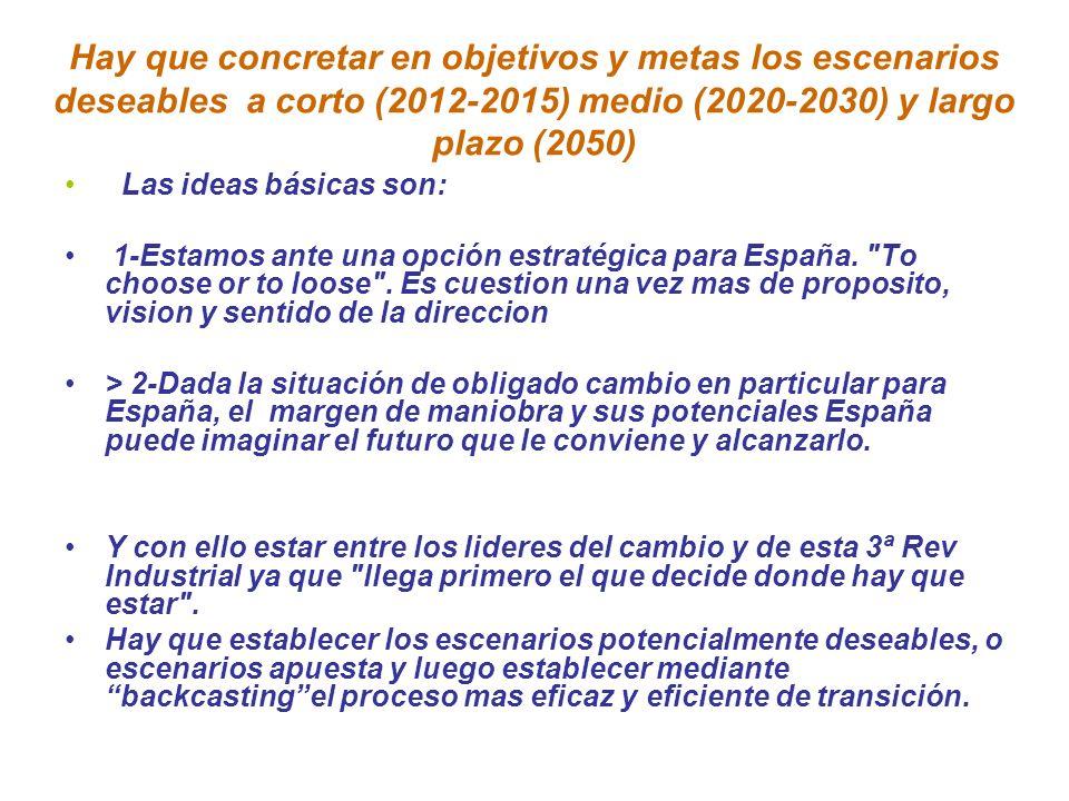 Hay que concretar en objetivos y metas los escenarios deseables a corto (2012-2015) medio (2020-2030) y largo plazo (2050) Las ideas básicas son: 1-Es
