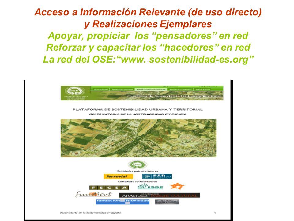 Acceso a Información Relevante (de uso directo) y Realizaciones Ejemplares Apoyar, propiciar los pensadores en red Reforzar y capacitar los hacedores