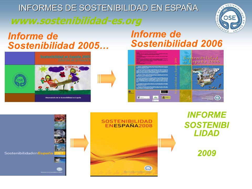 INFORMES DE SOSTENIBILIDAD EN ESPAÑA Informe de Sostenibilidad 2005… Informe de Sostenibilidad 2006 INFORME SOSTENIBI LIDAD 2009 www.sostenibilidad-es