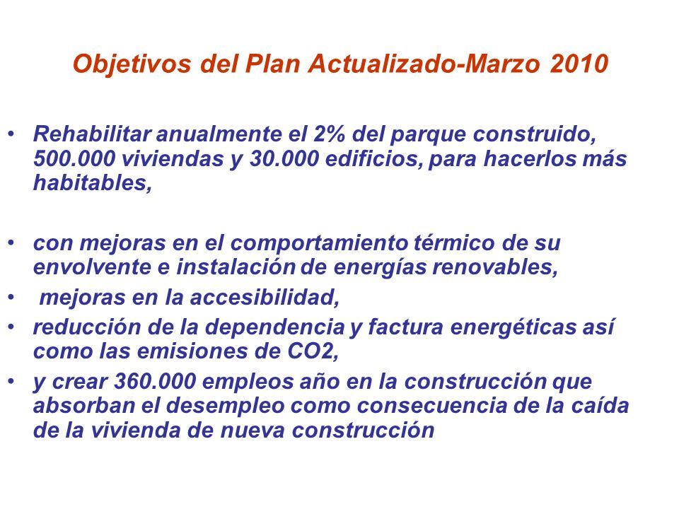 Objetivos del Plan Actualizado-Marzo 2010 Rehabilitar anualmente el 2% del parque construido, 500.000 viviendas y 30.000 edificios, para hacerlos más