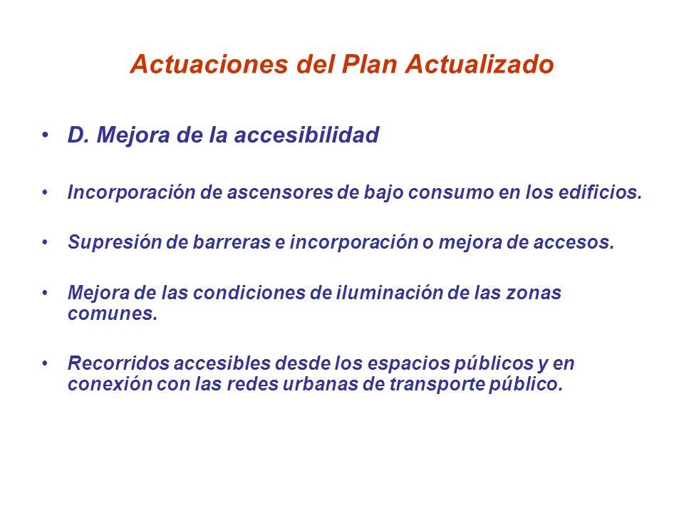 Actuaciones del Plan Actualizado D. Mejora de la accesibilidad Incorporación de ascensores de bajo consumo en los edificios. Supresión de barreras e i