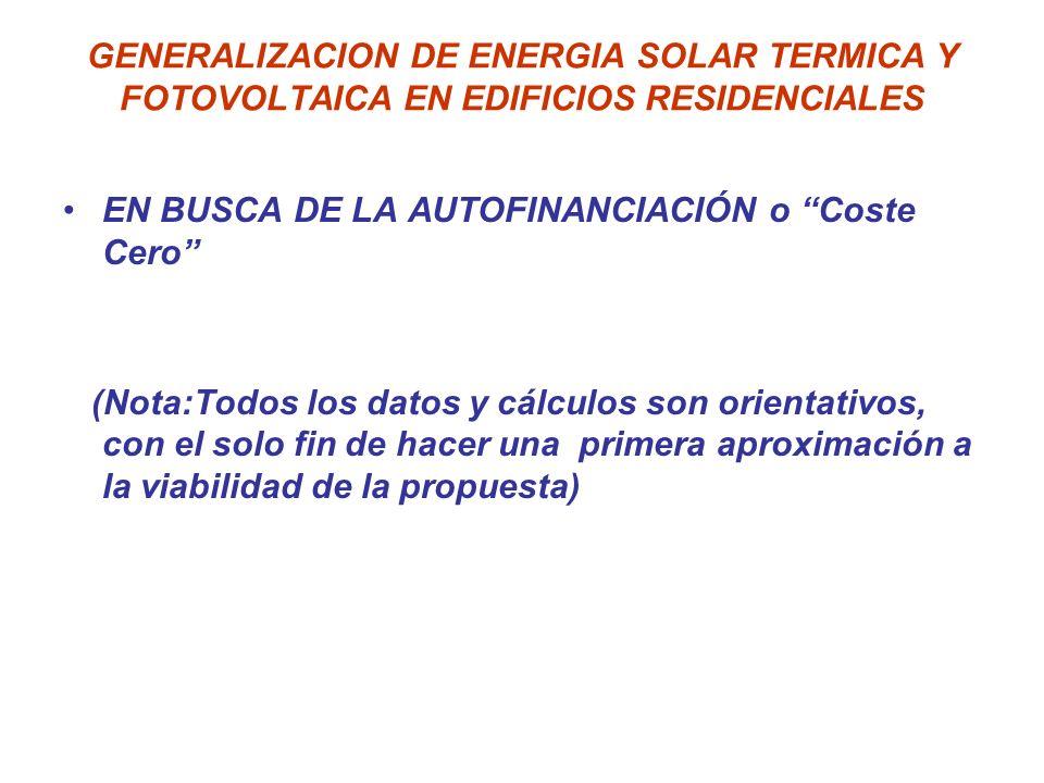 GENERALIZACION DE ENERGIA SOLAR TERMICA Y FOTOVOLTAICA EN EDIFICIOS RESIDENCIALES EN BUSCA DE LA AUTOFINANCIACIÓN o Coste Cero (Nota:Todos los datos y