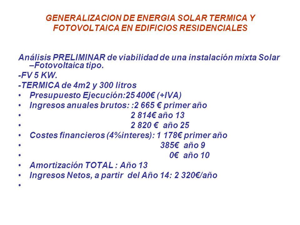 GENERALIZACION DE ENERGIA SOLAR TERMICA Y FOTOVOLTAICA EN EDIFICIOS RESIDENCIALES Análisis PRELIMINAR de viabilidad de una instalación mixta Solar –Fo