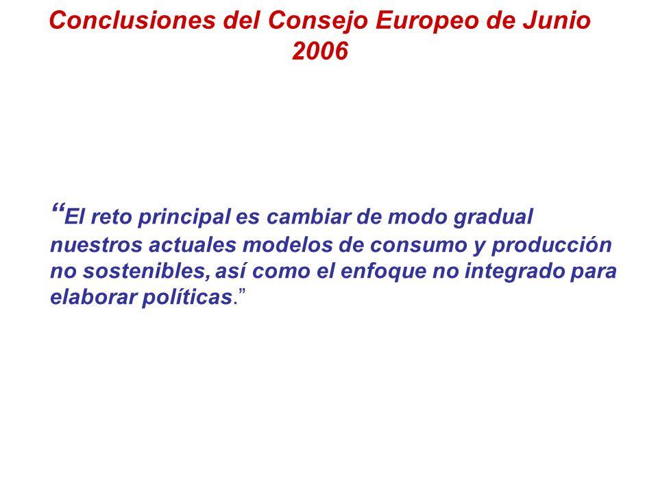 Conclusiones del Consejo Europeo de Junio 2006 El reto principal es cambiar de modo gradual nuestros actuales modelos de consumo y producción no soste