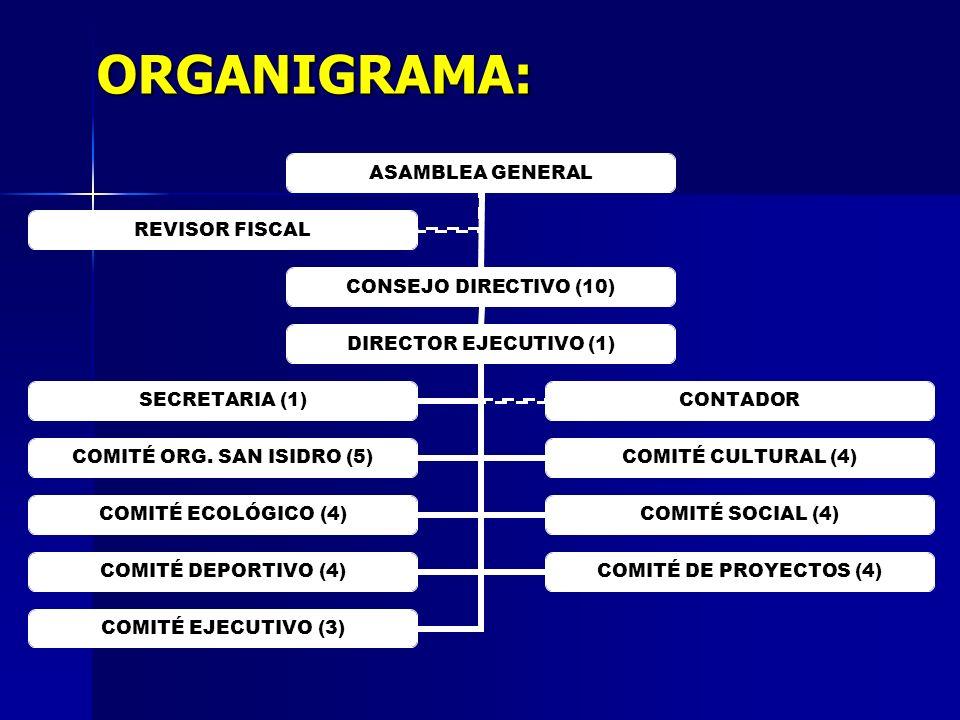 ORGANIGRAMA: ASAMBLEA GENERAL CONSEJO DIRECTIVO (10) DIRECTOR EJECUTIVO (1) COMITÉ ORG. SAN ISIDRO (5) COMITÉ CULTURAL (4) COMITÉ ECOLÓGICO (4) COMITÉ