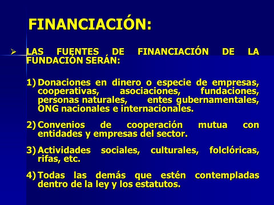 FINANCIACIÓN: LAS FUENTES DE FINANCIACIÓN DE LA FUNDACIÓN SERÁN: LAS FUENTES DE FINANCIACIÓN DE LA FUNDACIÓN SERÁN: 1)Donaciones en dinero o especie d