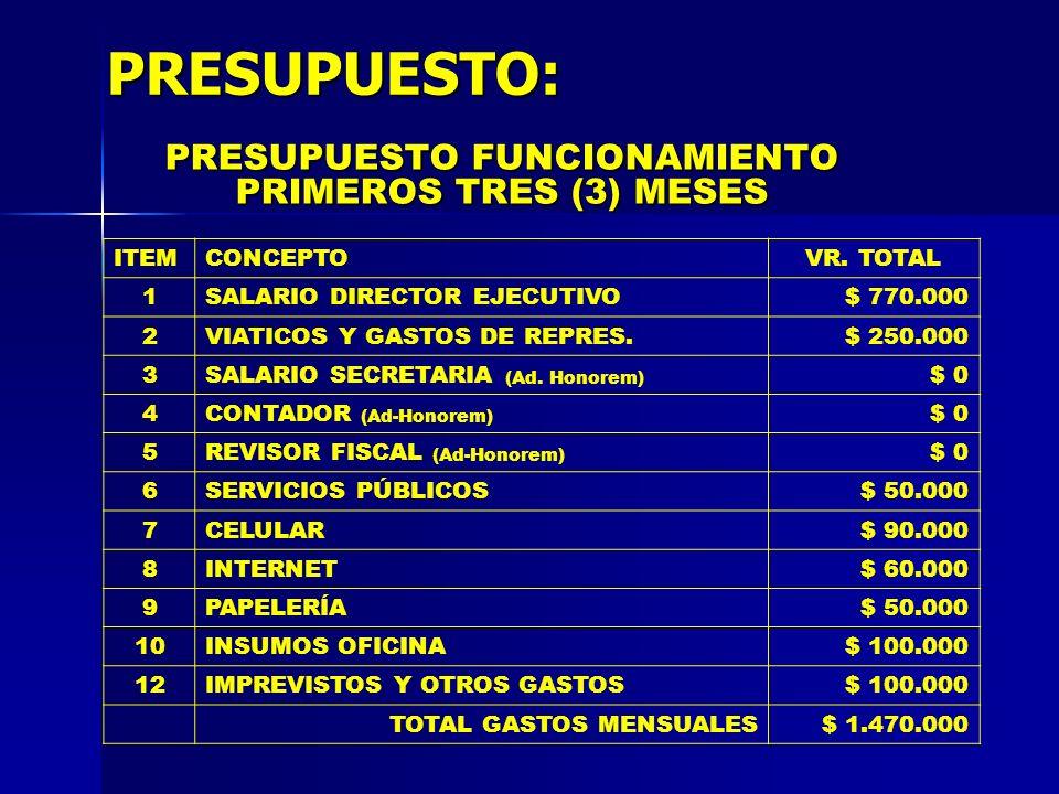 PRESUPUESTO: PRESUPUESTO FUNCIONAMIENTO PRIMEROS TRES (3) MESES ITEMCONCEPTOVR. TOTAL 1SALARIO DIRECTOR EJECUTIVO$ 770.000 2VIATICOS Y GASTOS DE REPRE