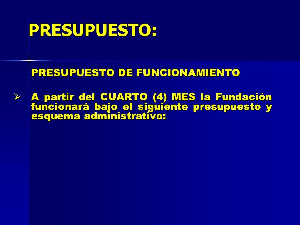 PRESUPUESTO: PRESUPUESTO DE FUNCIONAMIENTO A partir del CUARTO (4) MES la Fundación funcionará bajo el siguiente presupuesto y esquema administrativo: