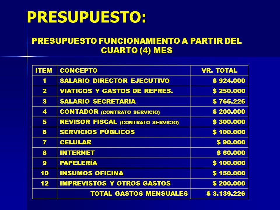 PRESUPUESTO: ITEMCONCEPTOVR. TOTAL 1SALARIO DIRECTOR EJECUTIVO$ 924.000 2VIATICOS Y GASTOS DE REPRES.$ 250.000 3SALARIO SECRETARIA$ 765.226 4CONTADOR