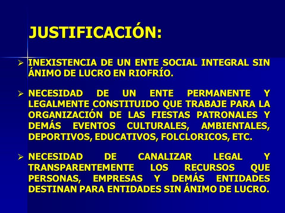 JUSTIFICACIÓN: INEXISTENCIA DE UN ENTE SOCIAL INTEGRAL SIN ÁNIMO DE LUCRO EN RIOFRÍO. INEXISTENCIA DE UN ENTE SOCIAL INTEGRAL SIN ÁNIMO DE LUCRO EN RI