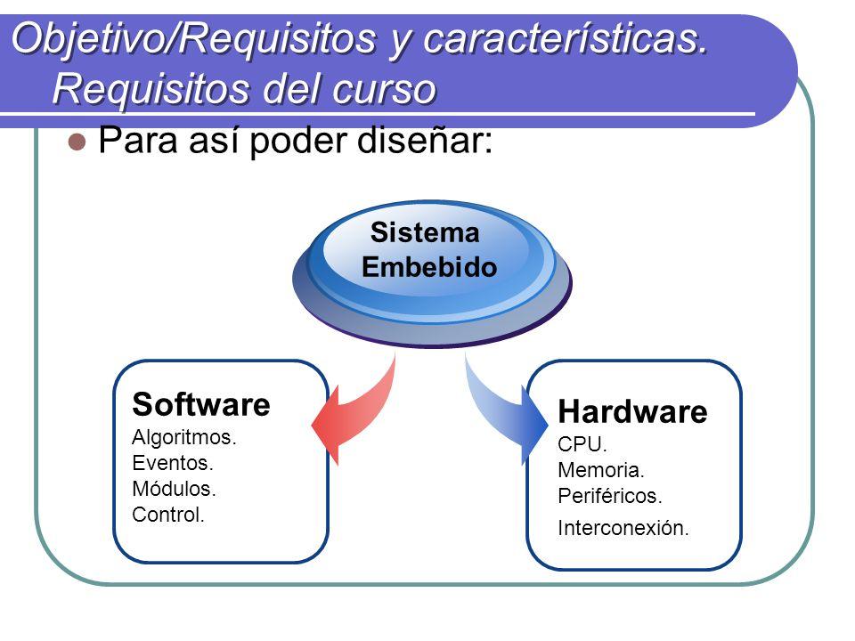 Objetivo/Requisitos y características.Requisitos del curso Para así poder diseñar: Hardware CPU.