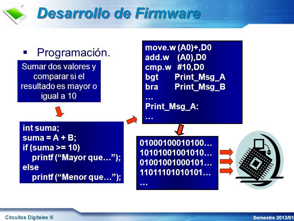 Circuitos Digitales III Semestre 2013/01 Desarrollo de Firmware Programación.