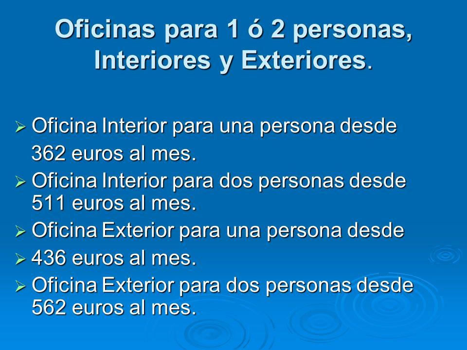 Oficinas para 1 ó 2 personas, Interiores y Exteriores. Oficina Interior para una persona desde 362 euros al mes. Oficina Interior para dos personas de