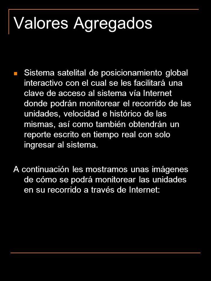 Valores Agregados Sistema satelital de posicionamiento global interactivo con el cual se les facilitará una clave de acceso al sistema vía Internet do