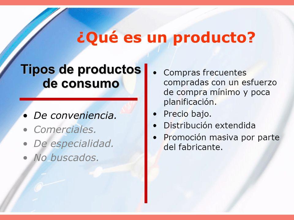 ¿Qué es un producto? De conveniencia. Comerciales. De especialidad. No buscados. Compras frecuentes compradas con un esfuerzo de compra mínimo y poca