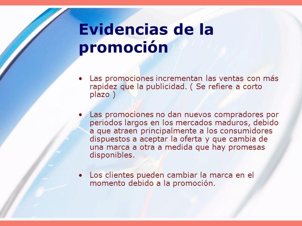 Evidencias de la promoción Las promociones incrementan las ventas con más rapidez que la publicidad. ( Se refiere a corto plazo ) Las promociones no d