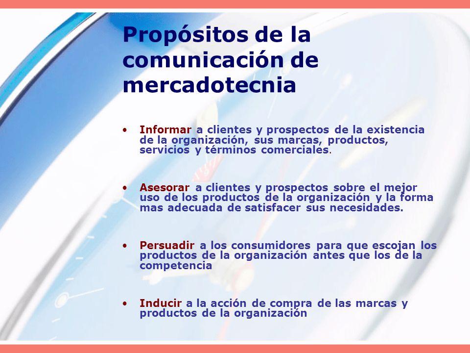 Propósitos de la comunicación de mercadotecnia Informar a clientes y prospectos de la existencia de la organización, sus marcas, productos, servicios