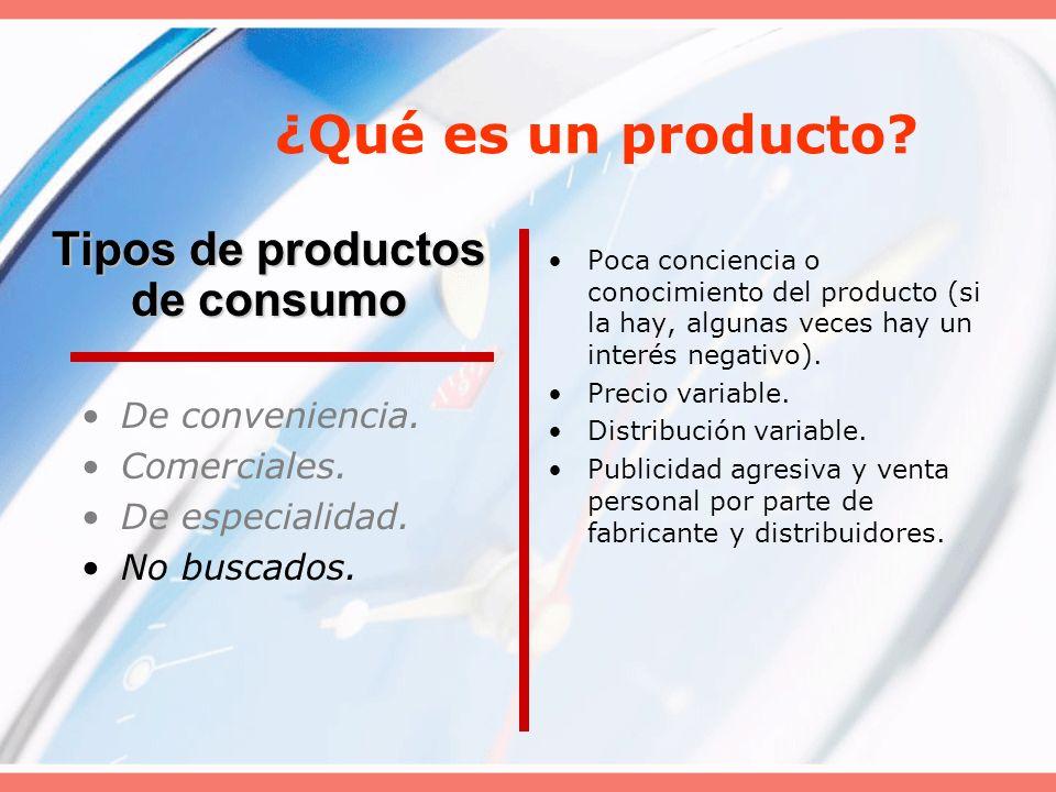 ¿Qué es un producto? De conveniencia. Comerciales. De especialidad. No buscados. Poca conciencia o conocimiento del producto (si la hay, algunas veces
