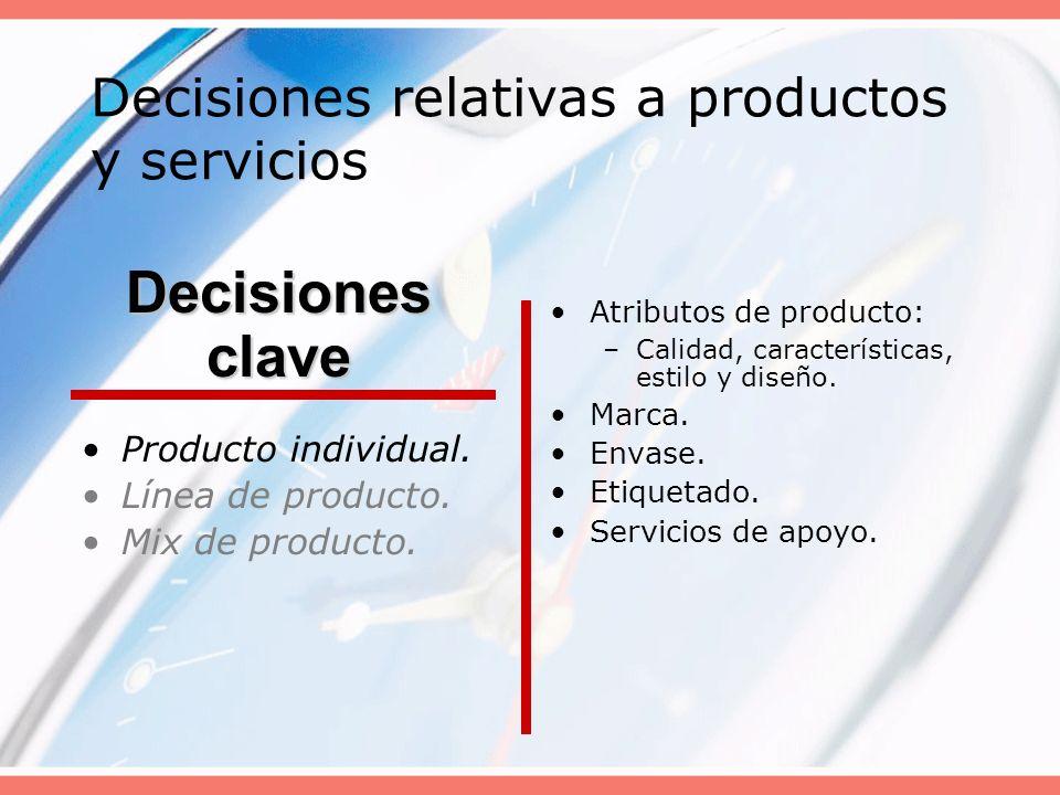 Decisiones relativas a productos y servicios Producto individual. Línea de producto. Mix de producto. Atributos de producto: –Calidad, características
