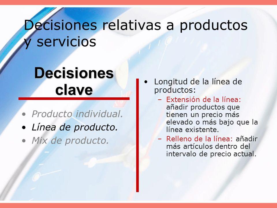Decisiones relativas a productos y servicios Producto individual. Línea de producto. Mix de producto. Longitud de la línea de productos: –Extensión de