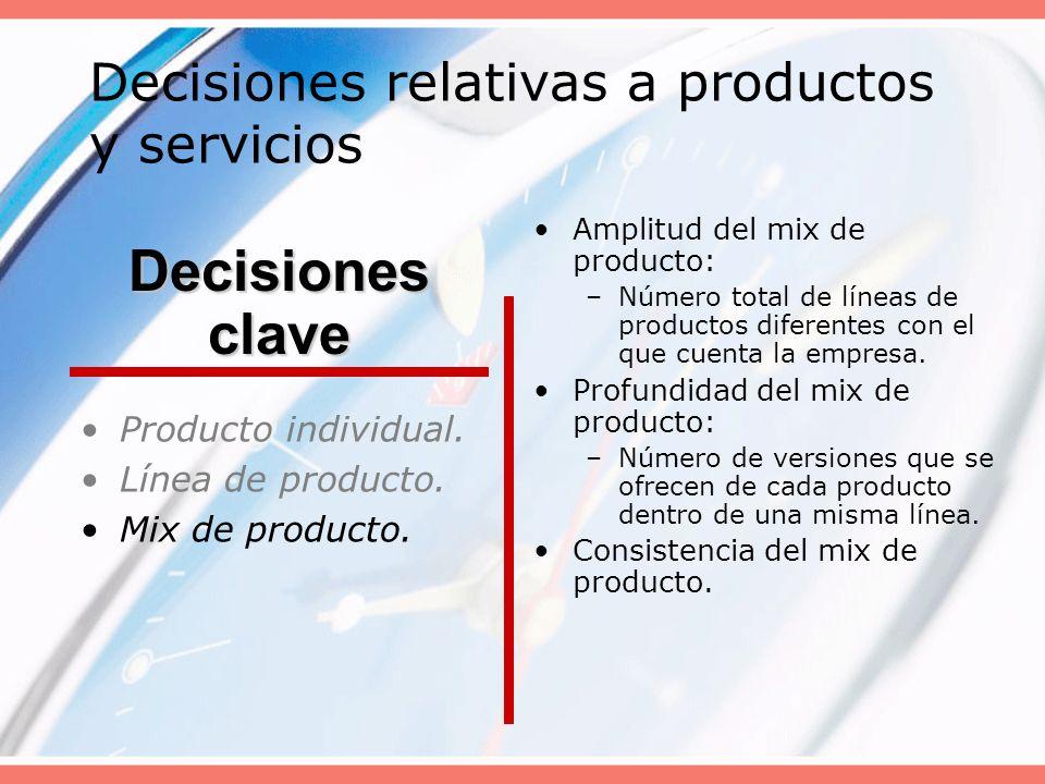 Decisiones relativas a productos y servicios Producto individual. Línea de producto. Mix de producto. Amplitud del mix de producto: –Número total de l