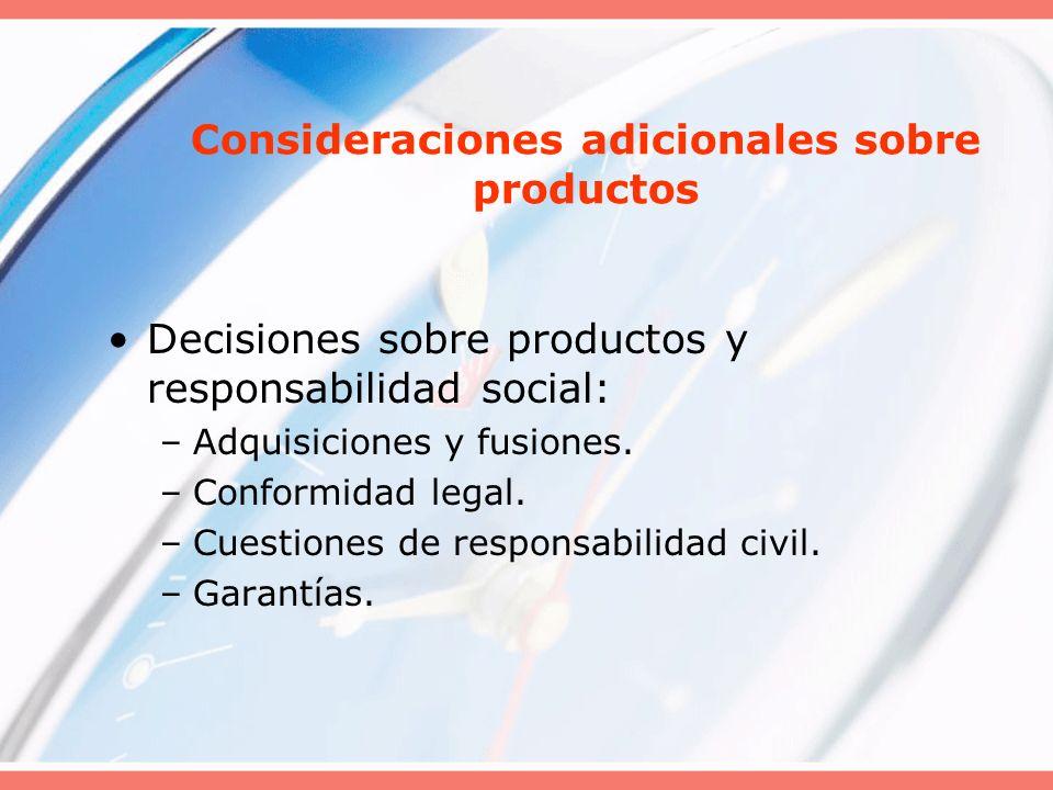 Decisiones sobre productos y responsabilidad social: –Adquisiciones y fusiones. –Conformidad legal. –Cuestiones de responsabilidad civil. –Garantías.