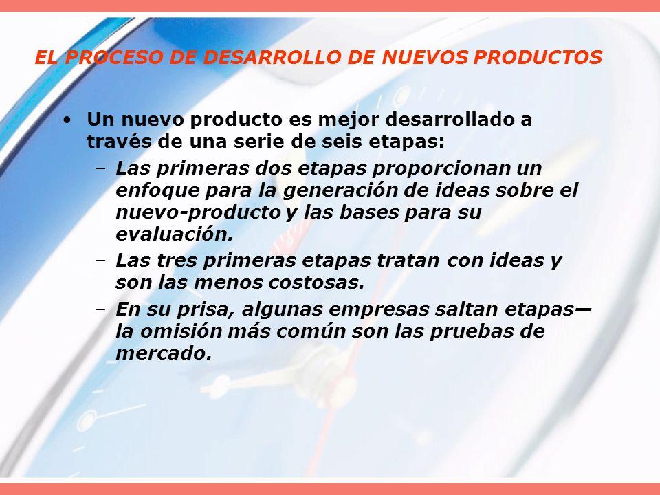 EL PROCESO DE DESARROLLO DE NUEVOS PRODUCTOS Un nuevo producto es mejor desarrollado a través de una serie de seis etapas: –Las primeras dos etapas pr