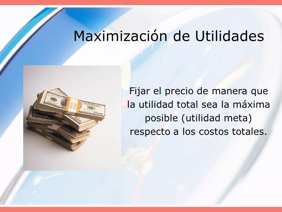 Maximización de Utilidades Fijar el precio de manera que la utilidad total sea la máxima posible (utilidad meta) respecto a los costos totales.
