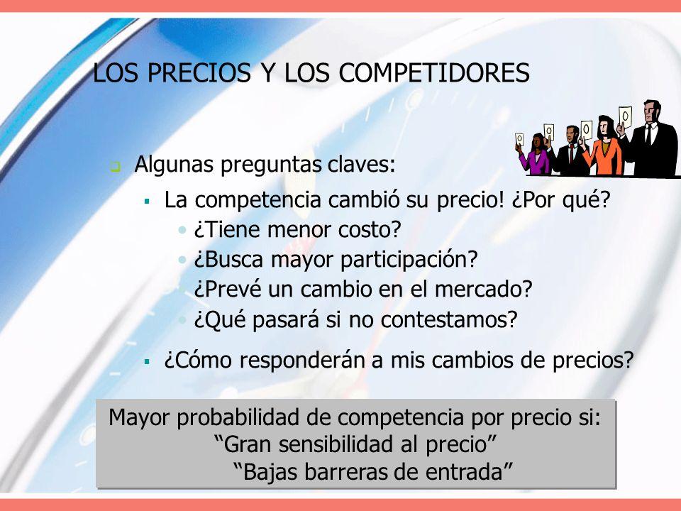 LOS PRECIOS Y LOS COMPETIDORES Algunas preguntas claves: La competencia cambió su precio! ¿Por qué? ¿Tiene menor costo? ¿Busca mayor participación? ¿P