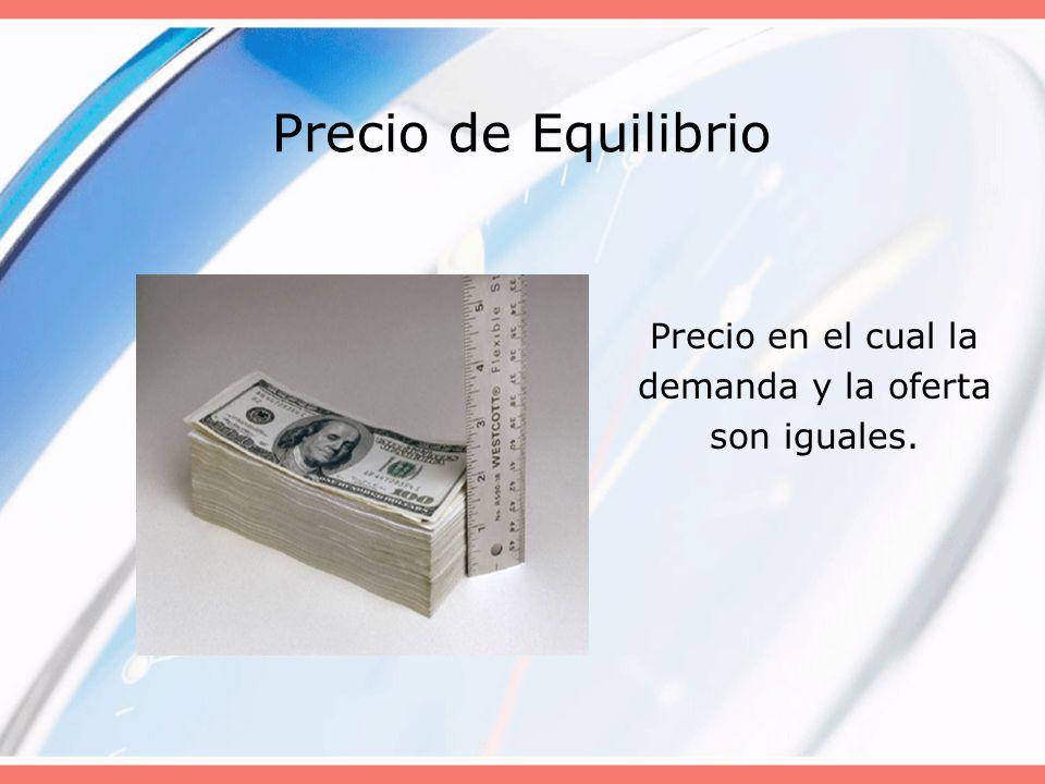Precio de Equilibrio Precio en el cual la demanda y la oferta son iguales.