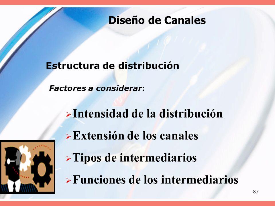 87 Diseño de Canales Estructura de distribución Factores a considerar: Intensidad de la distribución Extensión de los canales Tipos de intermediarios
