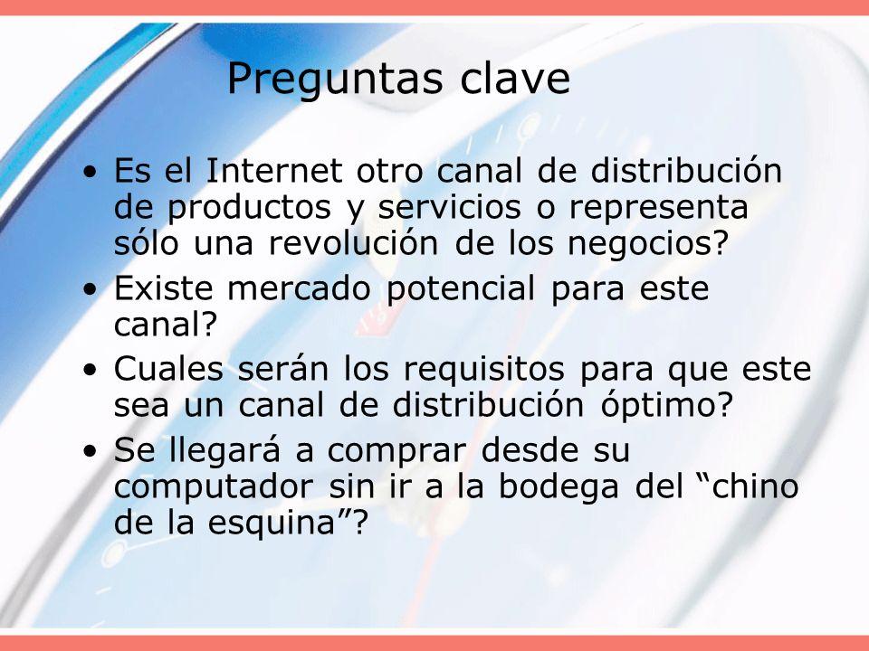 Preguntas clave Es el Internet otro canal de distribución de productos y servicios o representa sólo una revolución de los negocios? Existe mercado po
