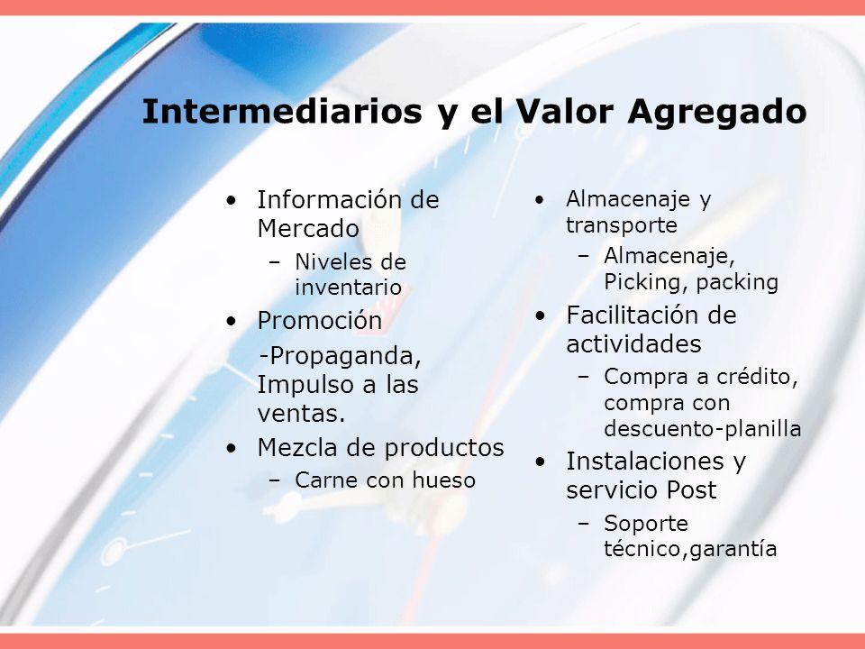 Intermediarios y el Valor Agregado Información de Mercado –Niveles de inventario Promoción -Propaganda, Impulso a las ventas. Mezcla de productos –Car