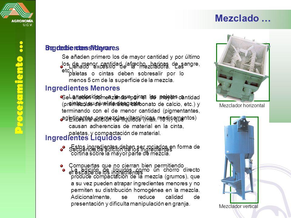 AGRONOMÍA U.C.V. Procesamiento … Ingredientes Mayores Se añaden primero los de mayor cantidad y por último los de menor cantidad (afrecho, harinas de