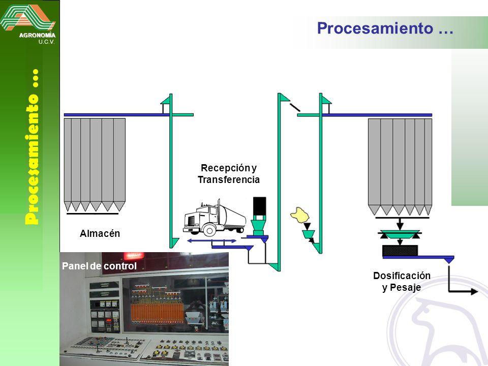 AGRONOMÍA U.C.V. Procesamiento … Dosificación y Pesaje Almacén Panel de control Recepción y Transferencia
