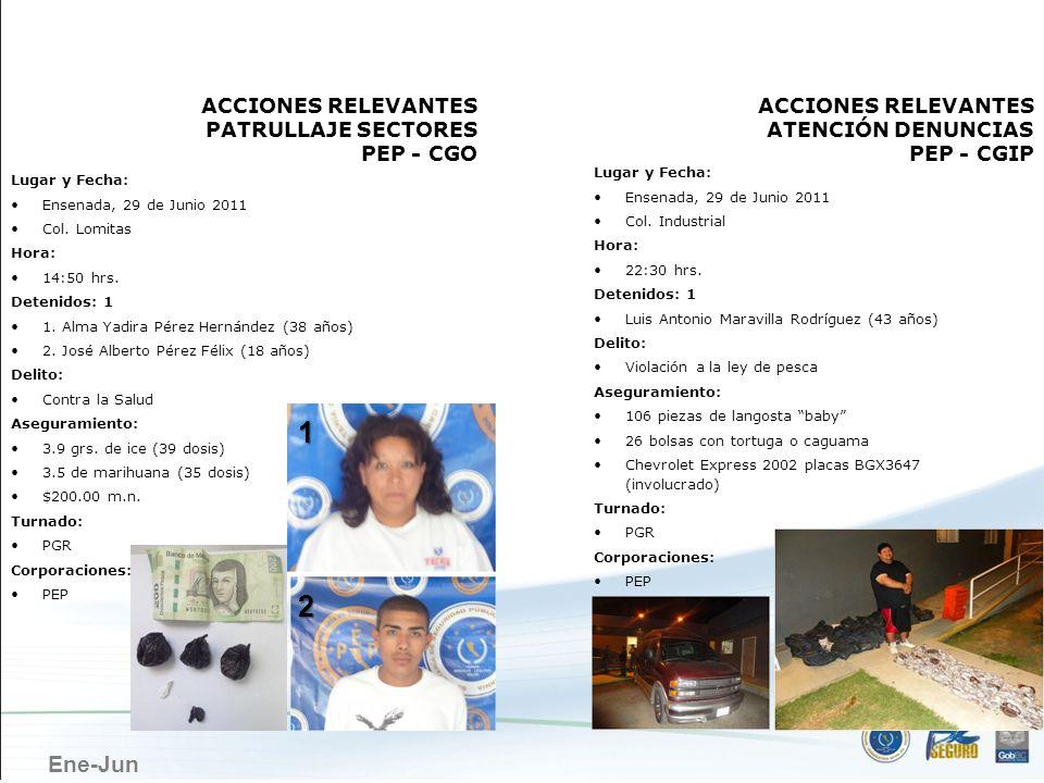 Ene-Jun ENSENADA ACCIONES RELEVANTES PATRULLAJE SECTORES PEP - CGO Lugar y Fecha: Ensenada, 29 de Junio 2011 Col. Industrial Hora: 22:30 hrs. Detenido
