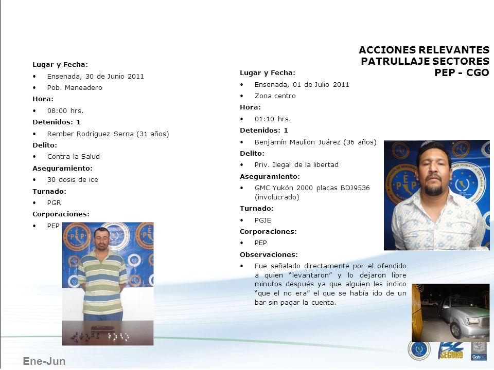 Ene-Jun ENSENADA Lugar y Fecha: Ensenada, 30 de Junio 2011 Pob. Maneadero Hora: 08:00 hrs. Detenidos: 1 Rember Rodríguez Serna (31 años) Delito: Contr