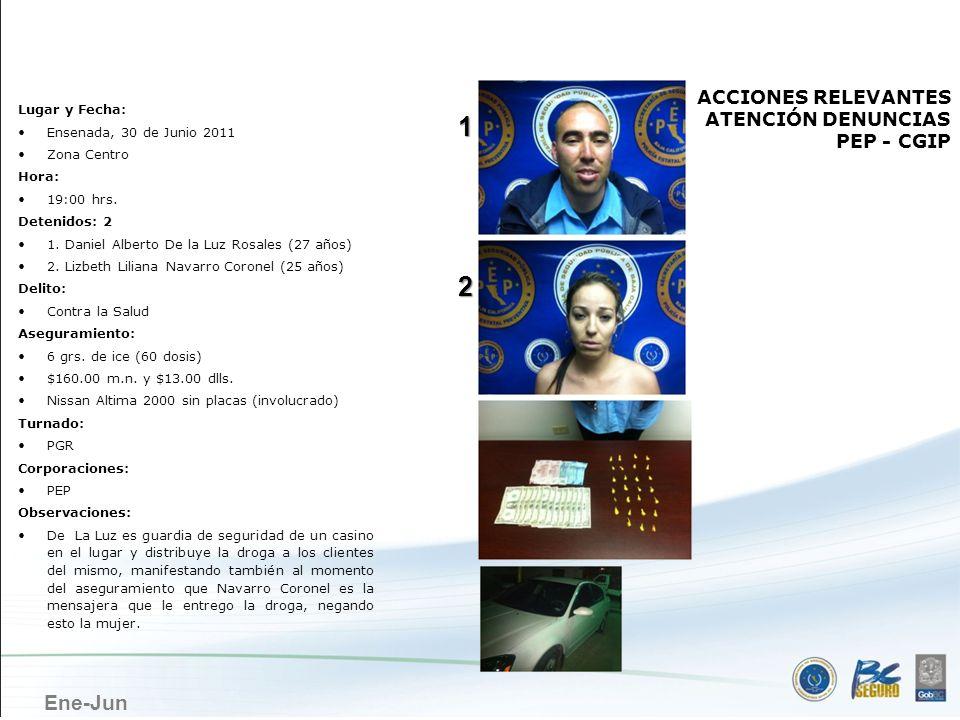 Ene-Jun ENSENADA ACCIONES RELEVANTES ATENCIÓN DENUNCIAS PEP - CGIP Lugar y Fecha: Ensenada, 30 de Junio 2011 Zona Centro Hora: 19:00 hrs. Detenidos: 2