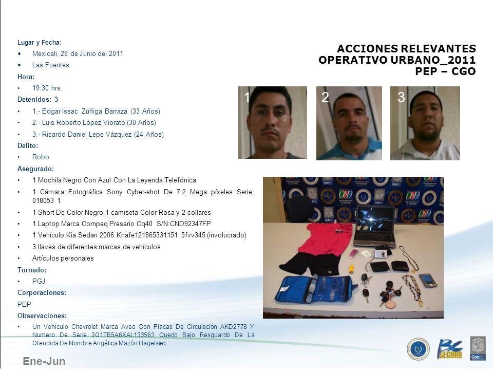Ene-Jun MEXICALI ACCIONES RELEVANTES OPERATIVO URBANO_2011 PEP – CGO Lugar y Fecha: Mexicali, 28 de Junio del 2011 Las Fuentes Hora: 19:30 hrs. Deteni