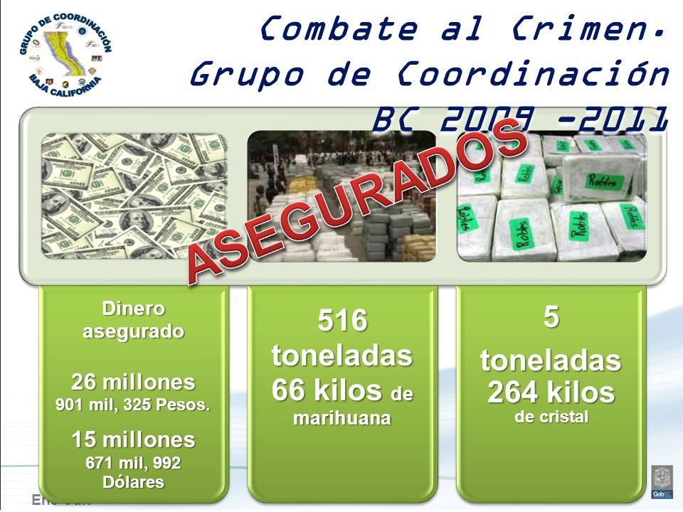Ene-JunDineroasegurado 26 millones 901 mil, 325 Pesos. 15 millones 671 mil, 992 Dólares 516 toneladas 66 kilos de marihuana 5 toneladas 264 kilos de c