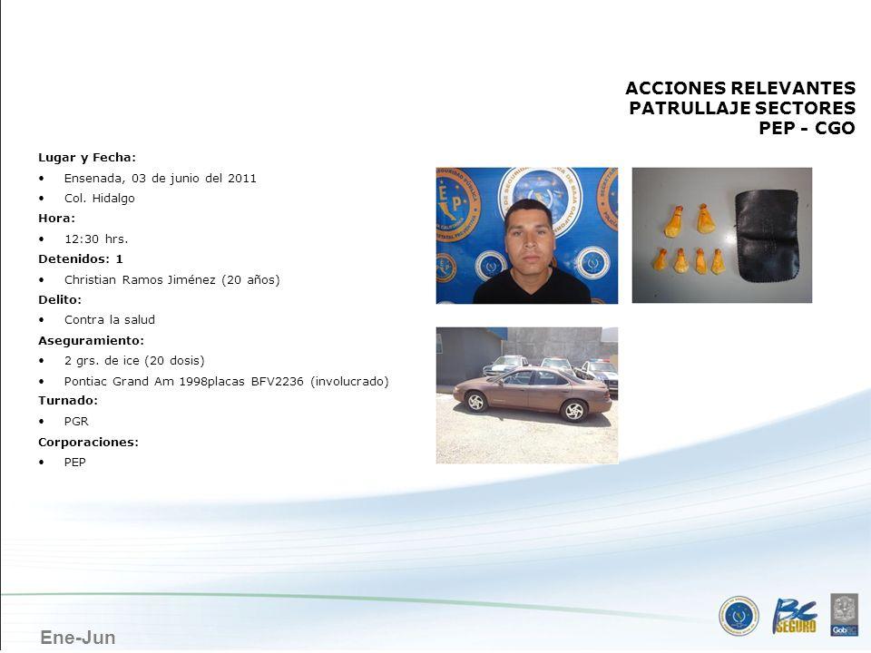 Ene-Jun ENSENADA ACCIONES RELEVANTES PATRULLAJE SECTORES PEP - CGO Lugar y Fecha: Ensenada, 03 de junio del 2011 Col. Hidalgo Hora: 12:30 hrs. Detenid