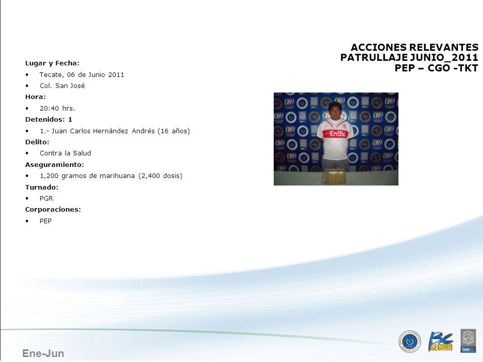 Ene-Jun TECATE ACCIONES RELEVANTES PATRULLAJE JUNIO_2011 PEP – CGO -TKT Lugar y Fecha: Tecate, 06 de Junio 2011 Col. San José Hora: 20:40 hrs. Detenid