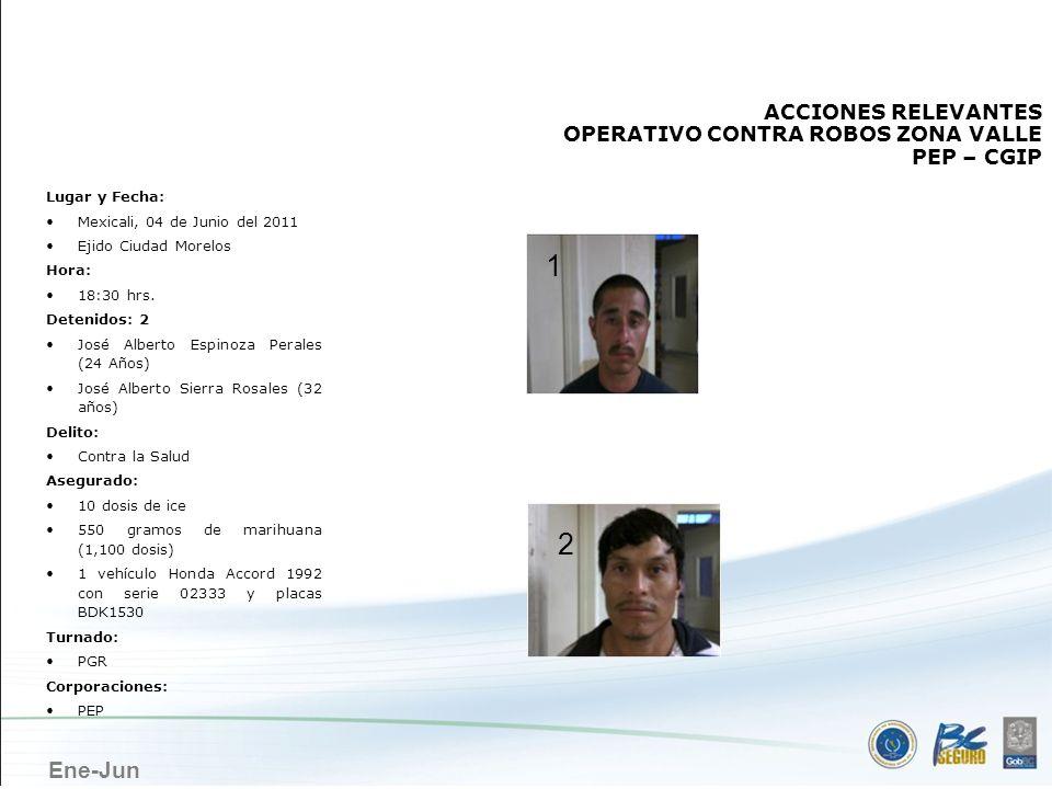 Ene-Jun MEXICALI ACCIONES RELEVANTES OPERATIVO CONTRA ROBOS ZONA VALLE PEP – CGIP Lugar y Fecha: Mexicali, 04 de Junio del 2011 Ejido Ciudad Morelos H