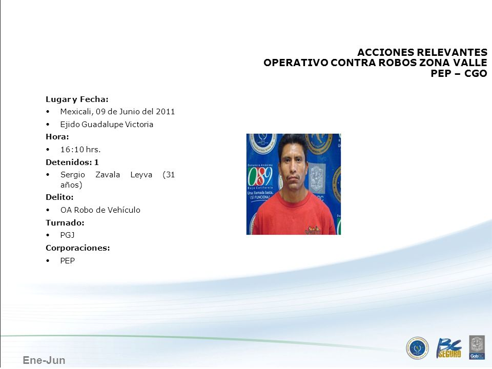 Ene-Jun MEXICALI ACCIONES RELEVANTES OPERATIVO CONTRA ROBOS ZONA VALLE PEP – CGO Lugar y Fecha: Mexicali, 09 de Junio del 2011 Ejido Guadalupe Victori